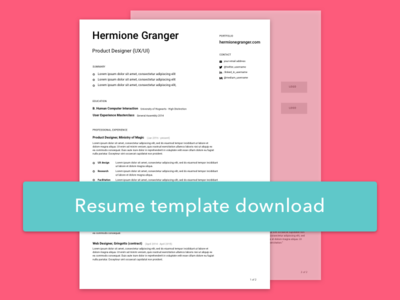 Resume + Template Download
