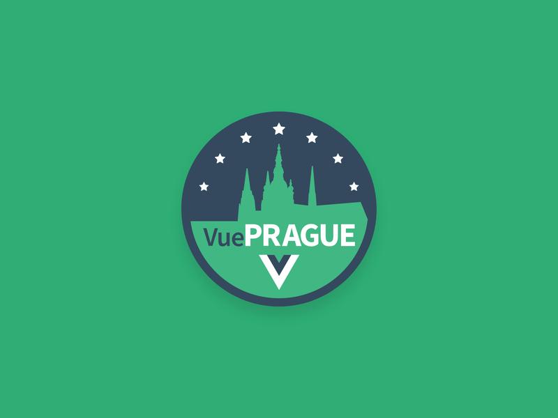VuePrague Logo cityscape city vue.js vuejs vue prague illustration visual typography minimal flat logo branding icon vector design