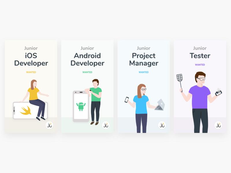 Hiring Visuals for Juicymo fun social media modern minimal flat typography branding icon ui visual vector illustration design