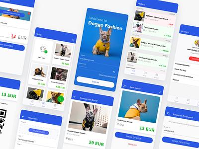 Doggo Fashion Seller App Design graphic design modern icon design icons uiux user interface cute blue app design uxdesign uidesign ux android fashion doggo dogs fun app ui design