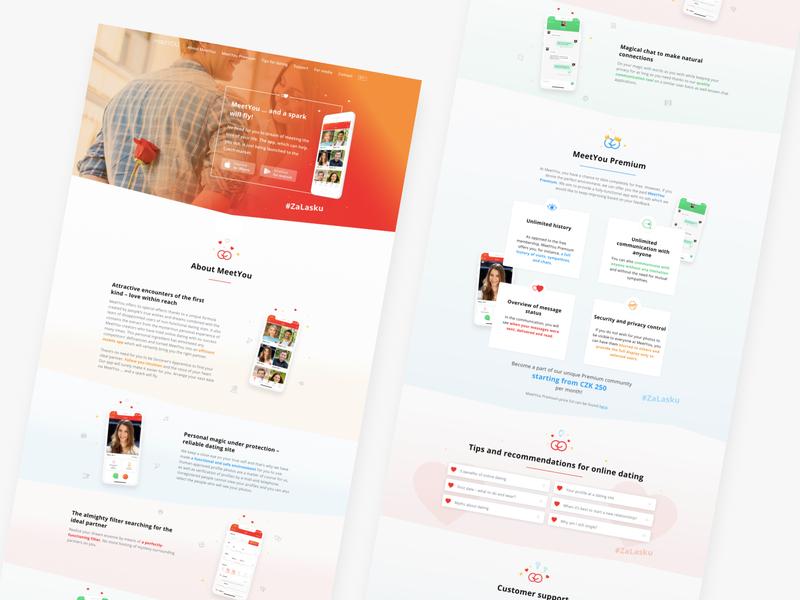 MeetYou Dating App - Landing Page Design graphic design whitespace love datingapp branding and identity web design landing page branding minimal fun ux web icon ui visual illustration vector design