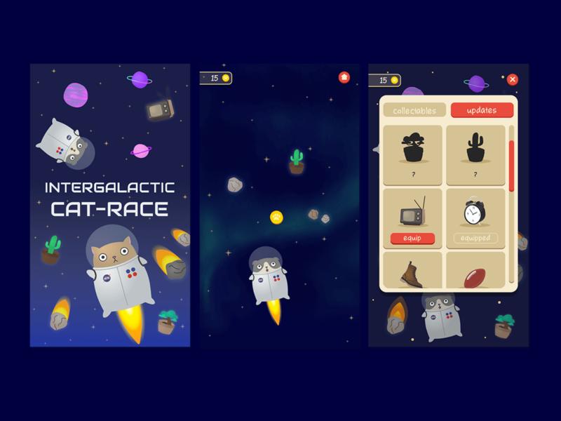INTERGALACTIC CAT-RACE catsu cat cacti galactic spaceship mobile ui game art space cute cats game design game app fun visual illustration vector design