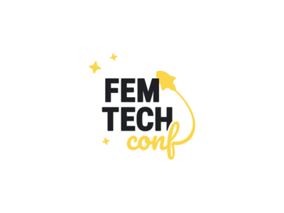 FemTechConf Logo Design playful cute fun conference femtechconf women in tech space rocket typography logo branding icon vector design