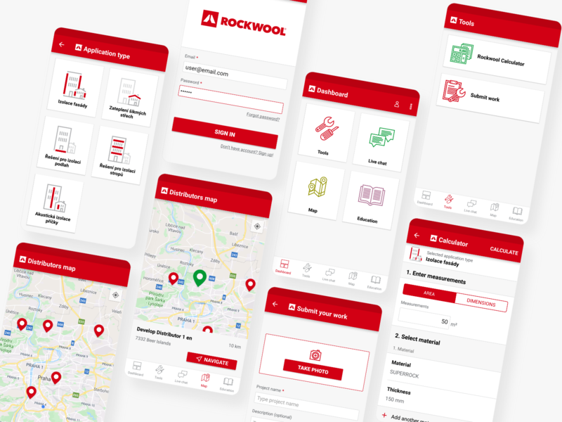 ROCKWOOL App Design graphic application industrial industry calculator red android minimal icon design app app design ux ui icon illustration vector design