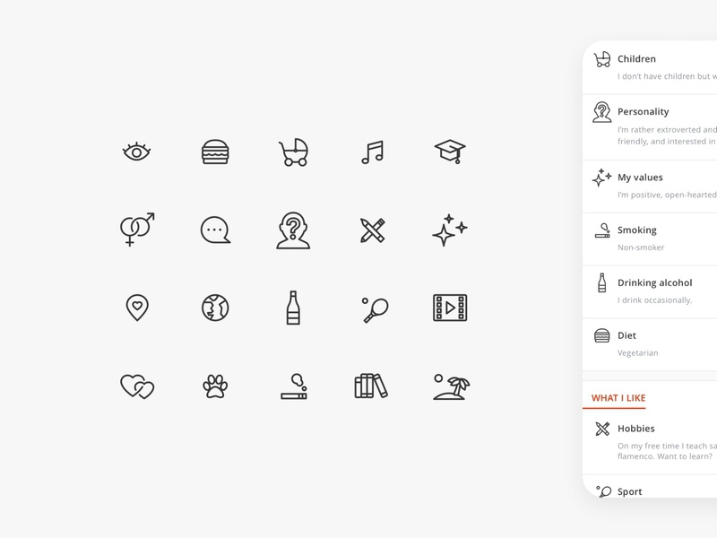 Icon Set for MeetYou Dating App line dating app dating cute app design app icon design ui illustration icon vector design