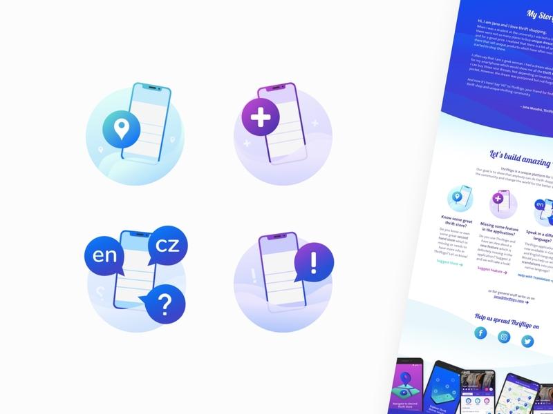 Illustrated Icons for Thriftigo Landing Page landingpage flat cute icon design branding ui icon illustration visual vector design
