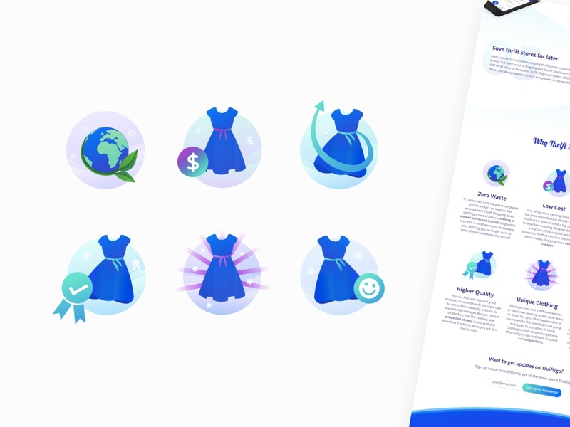 Illustrated Icons for Thriftigo Landing Page fashion environment thrift sustainability blue dress illustrations color landing design landing page app web icon design branding ui icon illustration visual vector design