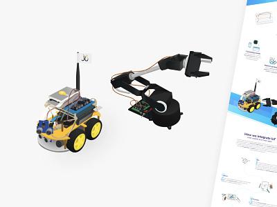 Robotic Arm and Car Vector Illustrations for Juicymo web design web vector illustration vector art cute robots robotic robot fun branding icon illustration visual vector design