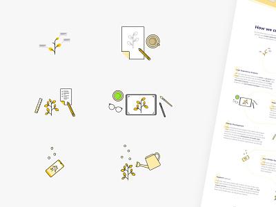 Workflow Icons for Juicymo Website web design website logo web icon design branding ui icon illustration visual vector design