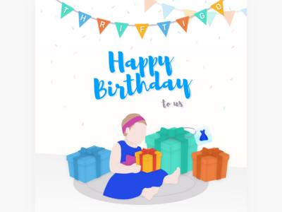 Birthday Visual for Thriftigo birthday visual ui illustration vector design