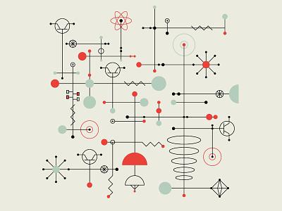 Mid-Century Modern abstract tech technology science atomic age atompunk mcm