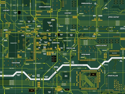 Circuit Board City (detail) city map circuit board technology tech computer