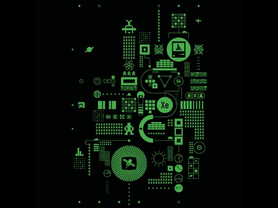 Abstract Dataflow icon diagram chart green screen green science technology tech data abstract