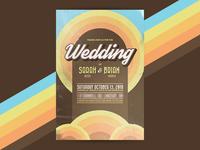 Wedding Invitiation grunge weathered vintage retro 70s postcard wedding