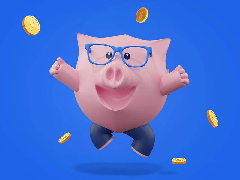 Piggy Cheering gold money coins jumping cheering excited design character mascot character mascot ui blender3d blender 3d art 3d piggybank piggy pig