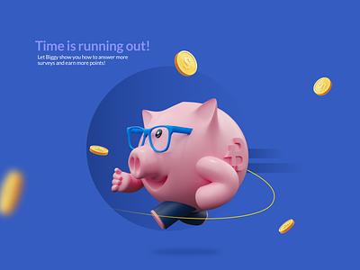 Piggy running grapics graphic design mascot character blender3d blender character design 3dcharacter 3d art 3d character mascot