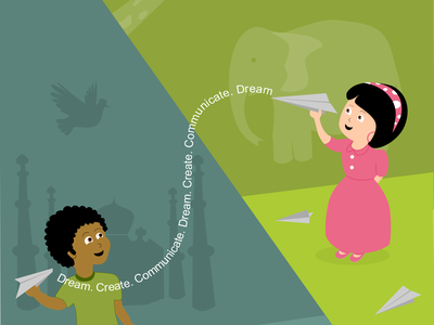 Dream.Create.Communicate illustration india africa inkscape vector