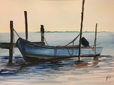 Solitary Boat copied freehand boat watercolor