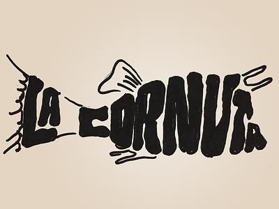La Cornuta black and white sharpie fish boat freehand logo