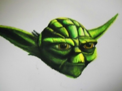 Master Yoda pentel oil pastels star wars yoda