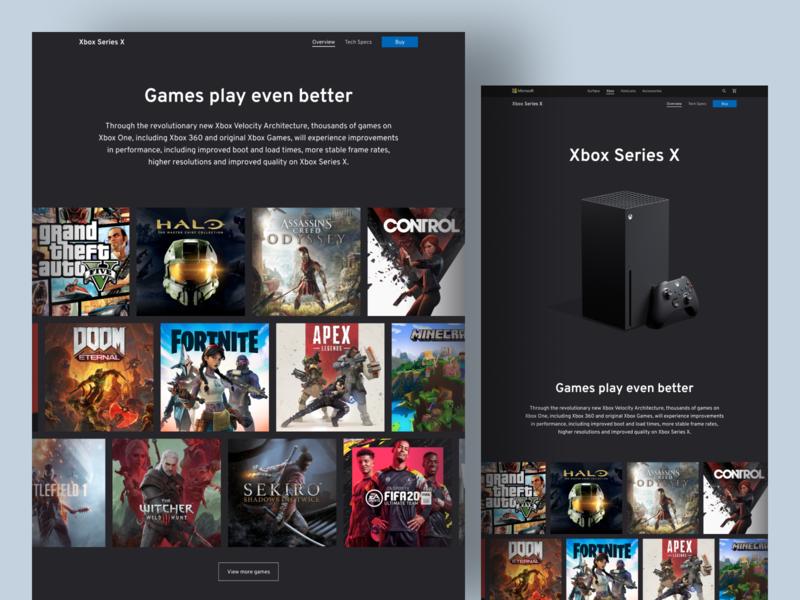 Xbox Series X Landing Page dark website gallery games uxdesign landing page xbox