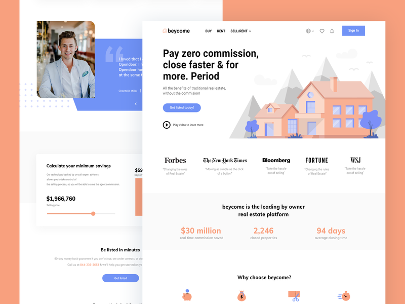 web redesign for real estate company listing company web redesign homepage header landing page illustration real estate