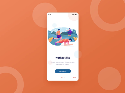 Animated onboarding screen for workout mobile app health fitness exploration orange animatedgif animated mobile app workout onboarding