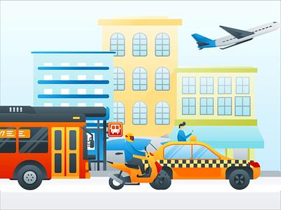Animated Hero Image Illustration - Online Transportation System gif animation motion graphic exploration hero image landing page header illustration