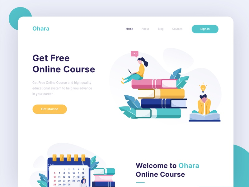 Ohara - Online course Landing Page design online courses online course exploration homepage hero image landing page header illustration