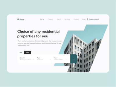 animated real estate landing page protopie real estate web design animated homepage animated hero animated landing page