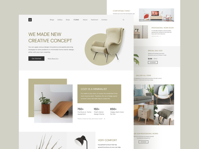 Furniture Website Homepage Full interior design landing page interiordesign furniture homepage furniture website