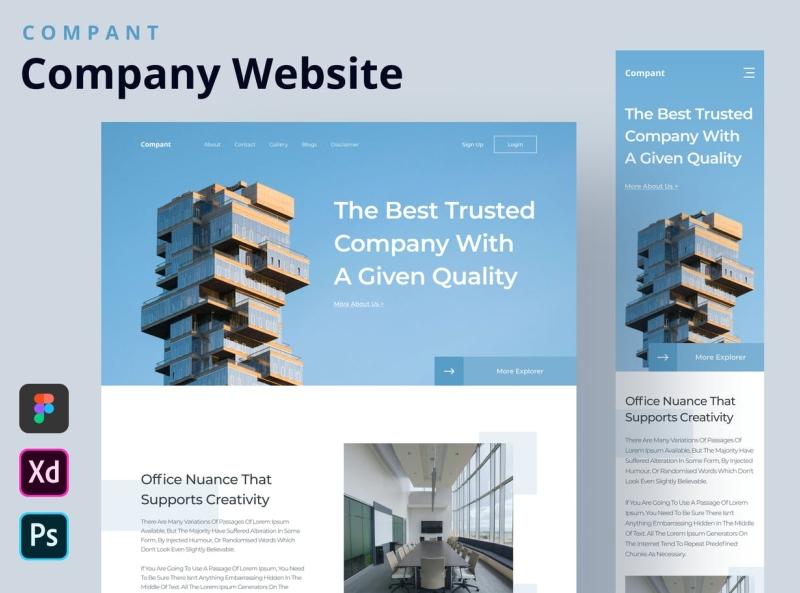 Company profile homepage design web template company profile landing page homepage