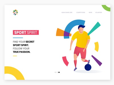 Landing Page Exploration : Sport theme website world cup 2018 asian games 2018 football soccer badminton basketball sport illustration landing page