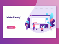 Landing page illustration for website builder service