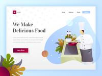 Makan - Hero illustration for cooking website