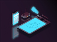 internet & cloud isometric object illustration