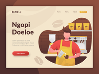 Barista - header illustration for coffee shop website