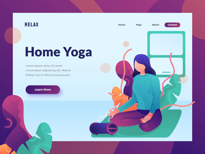 animated hero for yoga website purple lifestyle health yoga motion graphic animated animation exploration uiux homepage landing page header hero image illustration