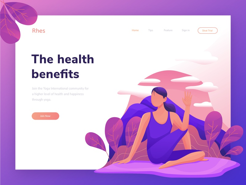 Yoga hero image illustration yoga pose community yoga exploration homepage uiux hero image landing page header illustration