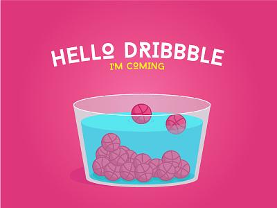 Hello Dribbble! pink pool glass water dribblbe hello illustration