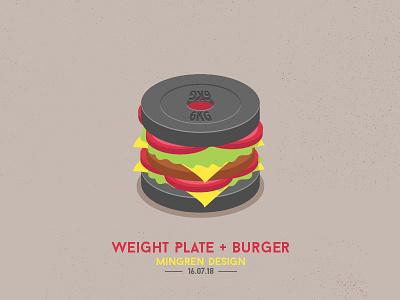 Weight Plate + Burger Design plate weight ui mingren illustration icon burger