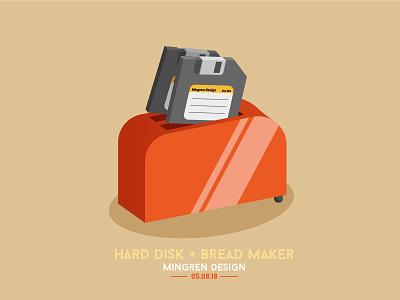Hard Disk + Bread Maker Design creative hard disk bread design logo illustration icon ui mingren