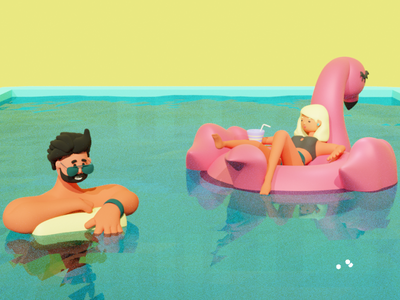 Rest at summer pool man woman pool design flat character branding graphic design ui 3d logo motion graphics animation