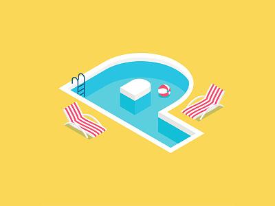 36 Days of Type: P isometric 3d illustrator design illustration beach sunbathe summer swimmingpool pool letter typography type 36days-p 36daysoftype