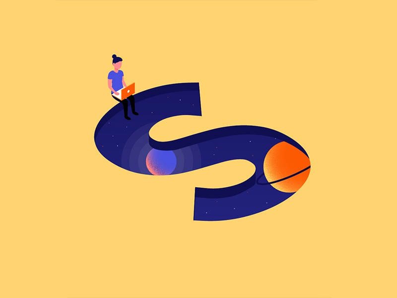 36 Days of Type: S lettering illustrator design illustration 3d isometric galaxy space typography type letter 36days-s 36daysoftype