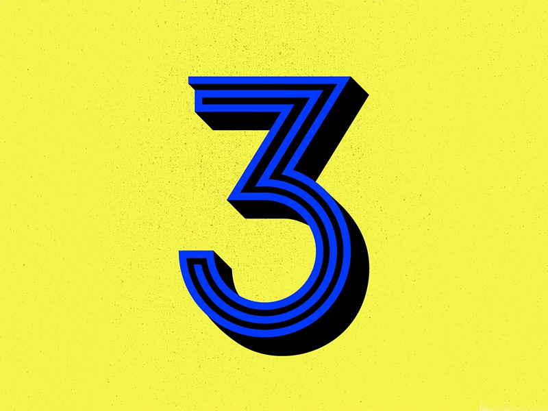36 Days of Type: 3 design illustrator illustration texture 3d numbers lettering letter typography type 36days-3 36daysoftype