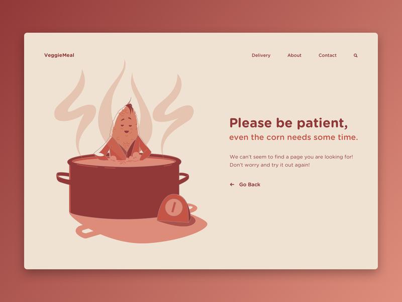 404 concept corn error page not found 404 restaurant vegan