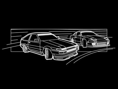 Trueno vs 180SX carson drifting illustration minimal vector graphic  design