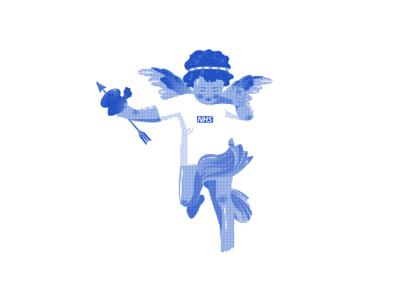 NHS Cupid vector supreme blue coronavirus corona love stayathome cupid nhs minimal illustration graphic  design