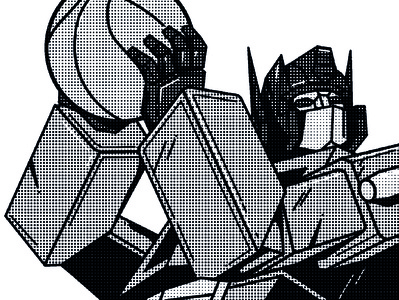Air Prime - Rebound basketball optimus prime autobot transformer black  white flat minimal vector illustration